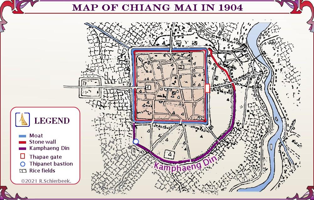 Chiang Mai history - The old city walls and Kamphaeng Din.