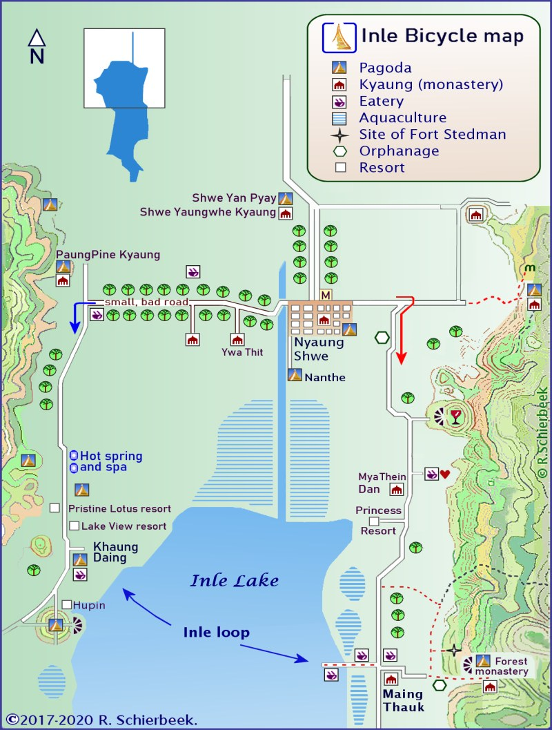 Inle Lake Bicycle map.